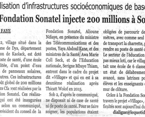 Article de presse Réalisation Fondation sonatel sob 2