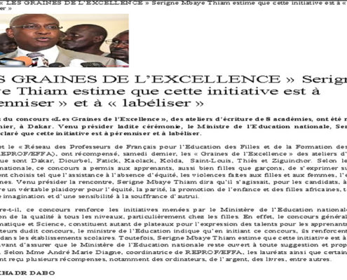 Article de presse les graines de l'excellence